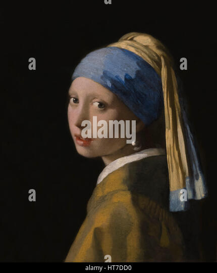 Girl with a Pearl Earring, by Johannes Vermeer, circa 1665, Royal Art Gallery, Mauritshuis Museum, The Hague, Netherlands, - Stock Image