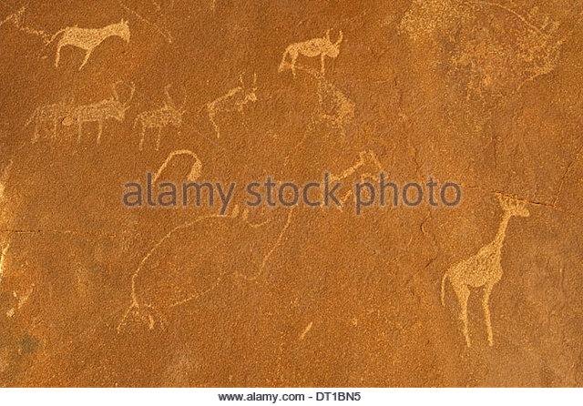 Uibasen Conservancy Damaraland Namibia. Historic Rock art engravings Twyfelfontein Namibia - Stock Image