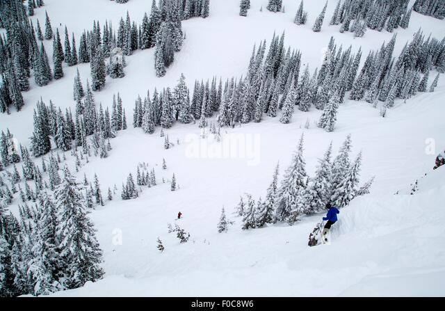 Snow covered hill, Jackson Hole, Wyoming - Stock Image