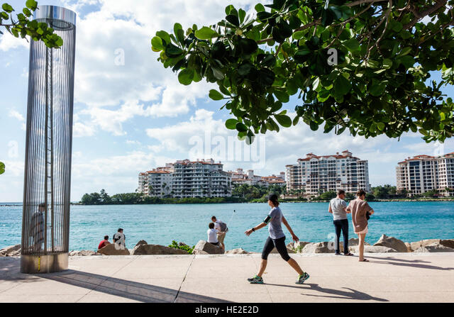 Florida Miami Beach South Pointe Park turtle tower Government Cut Fisher Island - Stock Image
