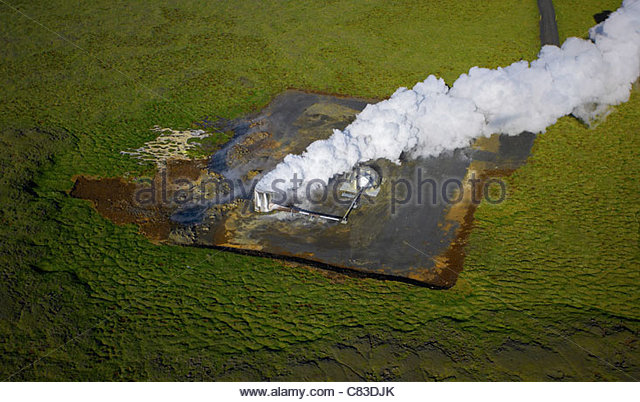 Pump station at geothermal power plant - Stock Image