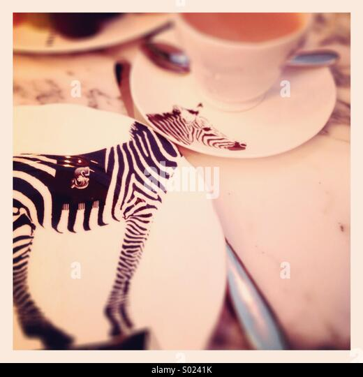 Zebra crockery - Stock Image