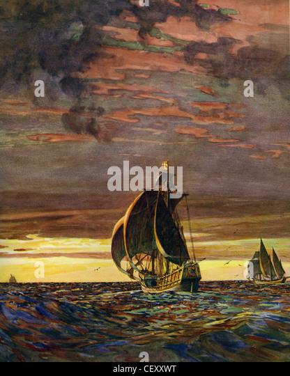 SANTA MARIA  flagship of Columbus with the Nina at right and the Pinta on the horizon - Stock-Bilder