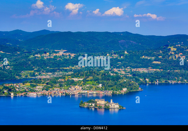 Italy, Europe, travel, Orta, Lake, San Gulio, Island, Piedmont, roofs, forest, tourism, town, landscape - Stock-Bilder