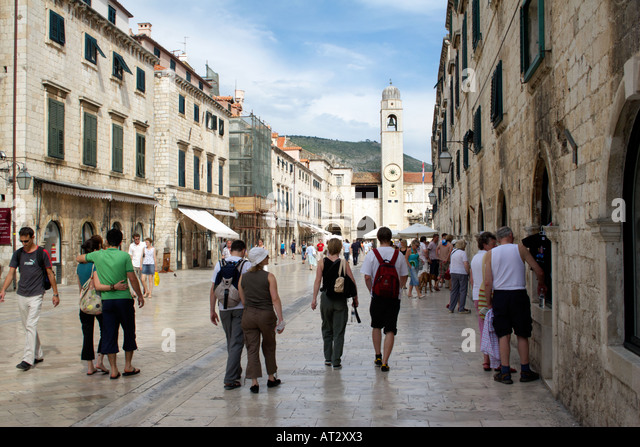 Placa Luza, Dubrovnik, Croatia, Europe, Placa Luza Sponza Palace and the clock tower Dubrovnik Croatia Placa Luza - Stock Image