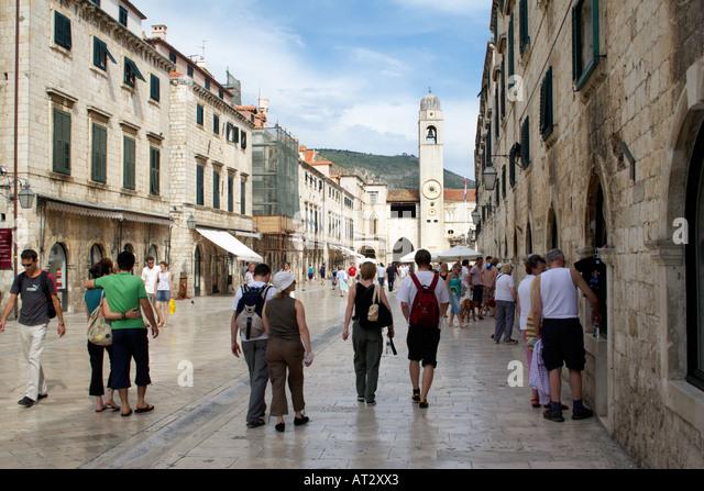 Placa Luza, Dubrovnik, Croatia, Europe, Placa Luza Sponza Palace and the clock tower Dubrovnik Croatia Placa Luza - Stock Image