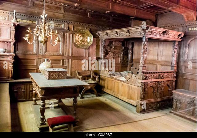 Copenhagen, Denmark, inside, the National Museum Nationalmuseet Orebygard Manor, 17c Bourgeois interior, Bedroom - Stock Image