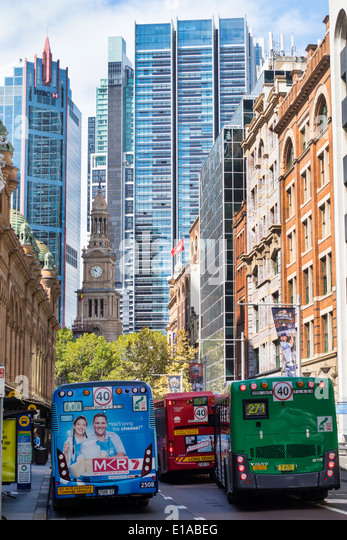 Australia NSW New South Wales Sydney Central Business District CBD York Street buses public transportation Town - Stock Image