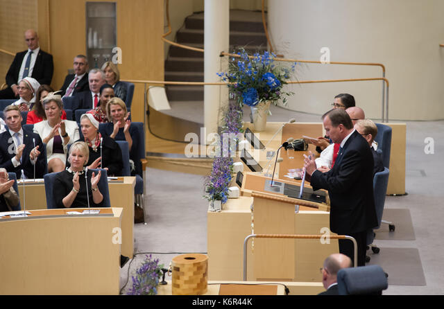 Stockholm, Sweden, 12th September, 2017. Opening of the Riksdag session. Ceremony in the Chamber at the opening - Stock Image