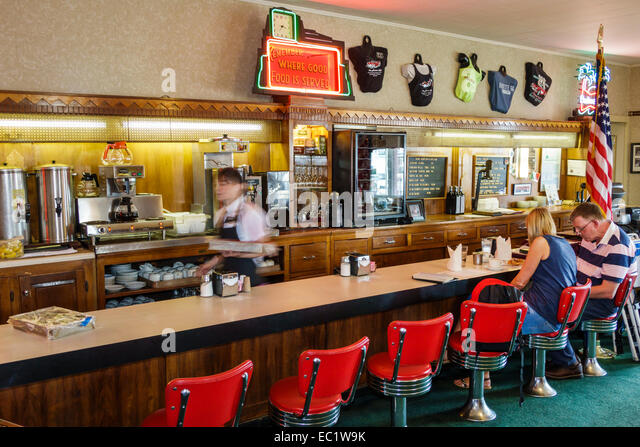 Illinois Litchfield Historic Route 66 The Ariston Cafe restaurant inside interior counter - Stock Image