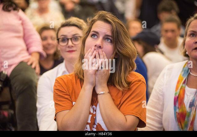 Austin texas usa 9th nov 2016 a hillary clinton supporter watches
