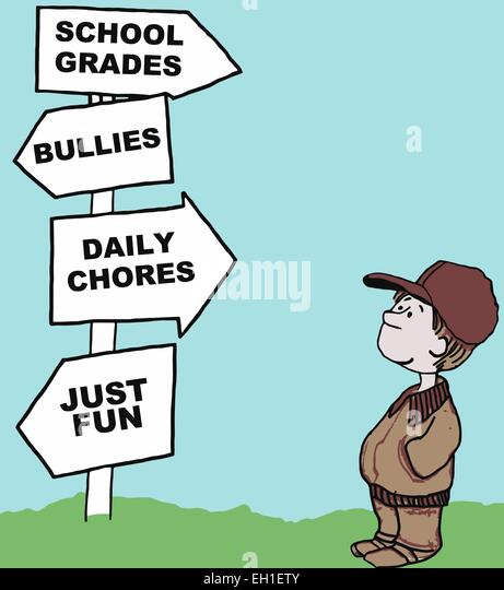 Cartoon of young boy looking at his options for the day: school grades, bullies, daily chores, just fun. - Stock Image