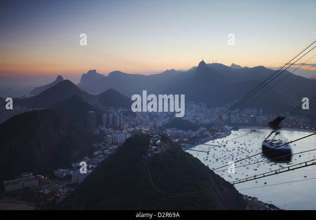 View of Rio from Sugar Loaf Mountain, Rio de Janeiro, Brazil, South America - Stock Image