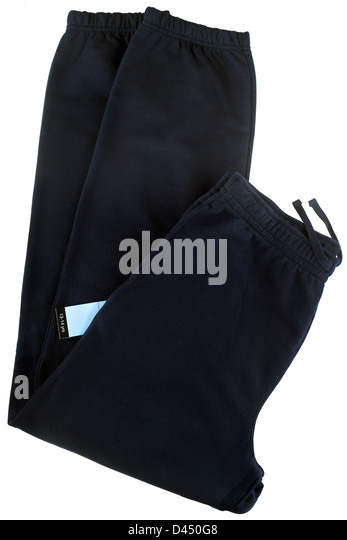 Pair of boys black jogger bottom trousers aged 13 to 14 years - Stock Image
