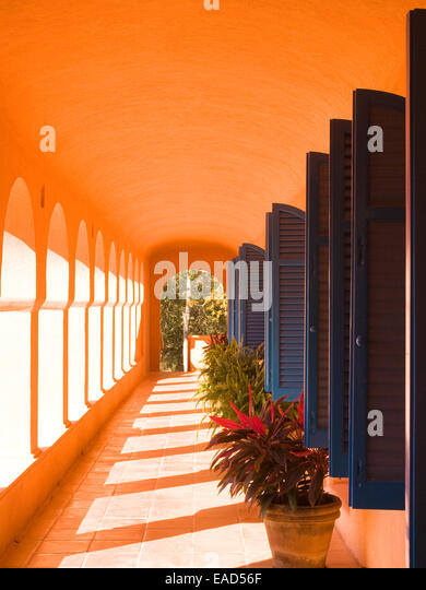 outdoor hall in latin america with decorative blue shutters and potted plants - Stock Image