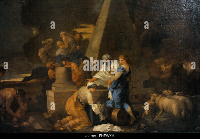 Sebastien Bourdon (1616-1671). French painter. Jacob Burying Laban's Images. The State Hermitage Museum. Saint - Stock Image
