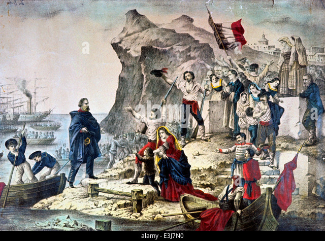 giuseppe garibaldi in sicily,Expedition of the Thousand 1860 - Stock Image