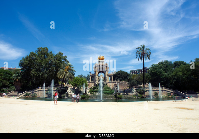 Fountain in Parc de la Ciutadella, Barcelona, Spain - Stock Image