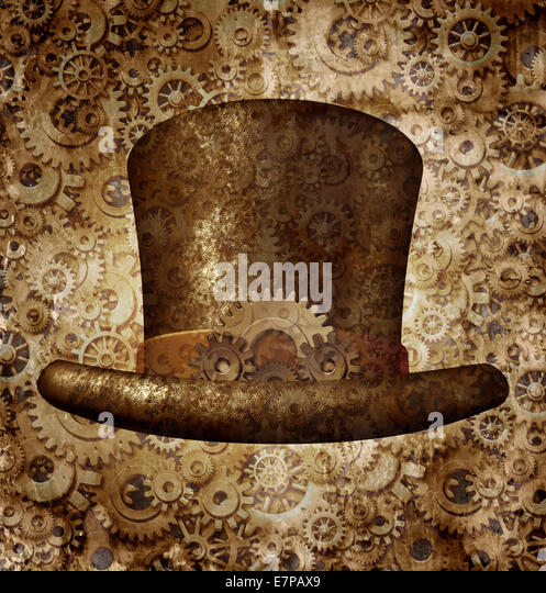 Steampunk top hat as a science fiction concept made of metal copper gears and cogs wearing a historical victorian - Stock-Bilder