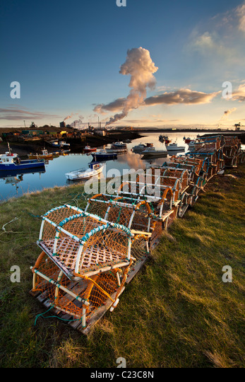 Winter sunset Paddys Hole, South Gare, Teesmouth - Stock Image