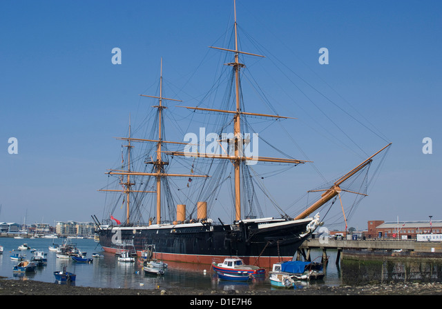 HMS Warrior, built for the Royal Navy in 1860, Portsmouth Historic Docks, Portsmouth, Hampshire, England - Stock-Bilder