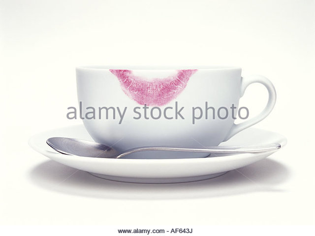 Coffee cup with lipstick print - Stock Image