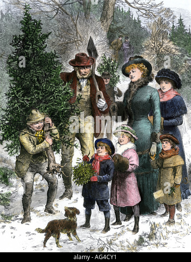 Victorian family bringing home their Christmas tree and mistletoe 1880s - Stock Image