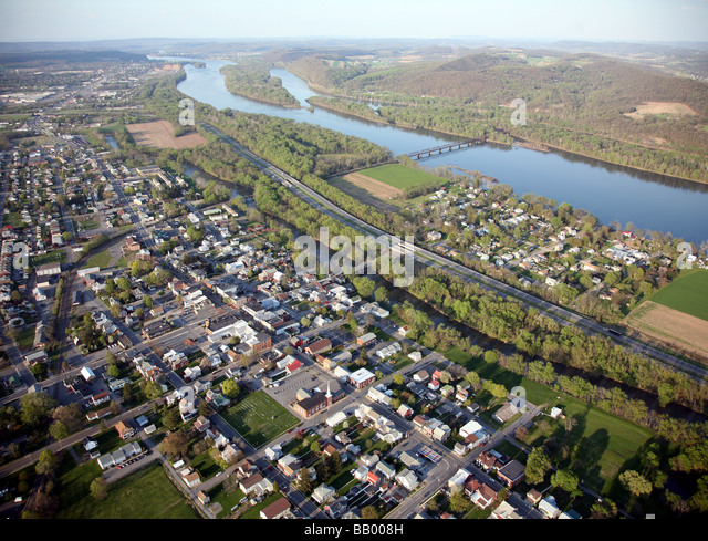 Aerial view of Selinsgrove, Pennsylvania, Snyder County, USA Home of Susquehanna University - Stock Image