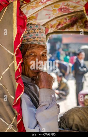 Portrait of rickshaw old man - Stock-Bilder