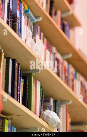 Books in a bookcase - Stock Image