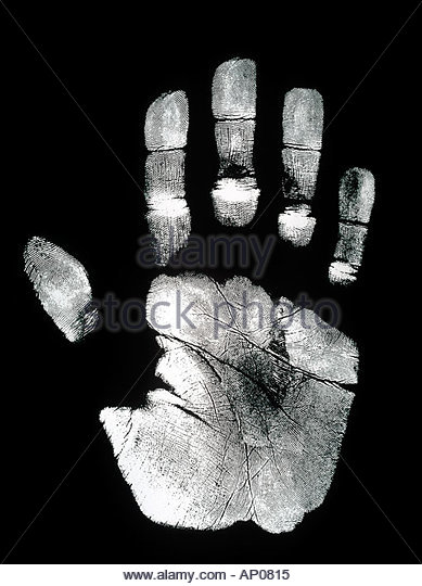 Hand Print Palm Print and Finger prints on black background - Stock Image