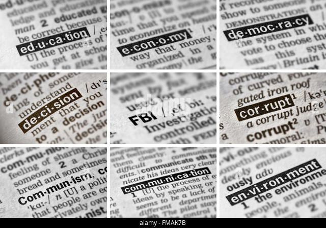 Politics Words in Dictionary - Stock Image