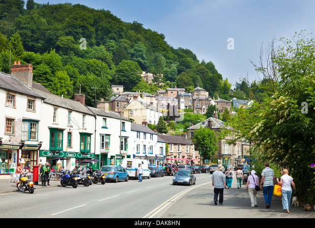 Matlock bath town centre with shops and cafes North Parade Derbyshire England UK GB EU Europe - Stock Image