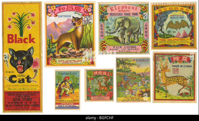 Assortment of vintage firecrackers labels. - Stock Image