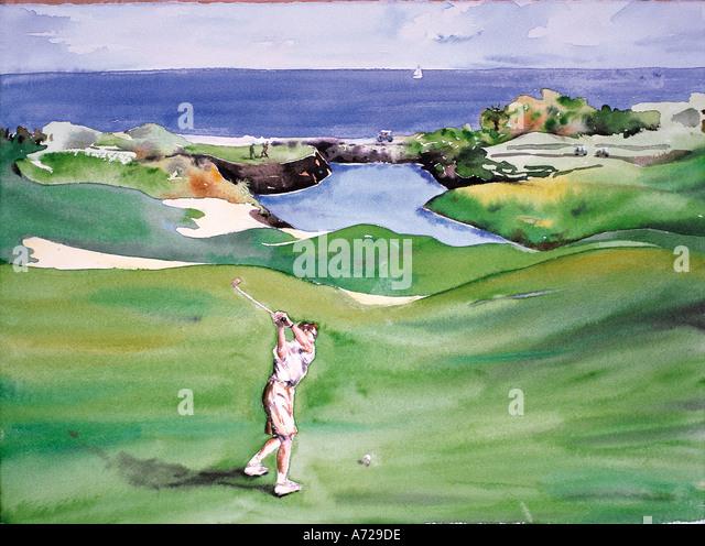 Watercolor of golf in Hawaii - Stock-Bilder