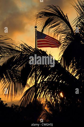 USA Flag At Sunset - Stock Image