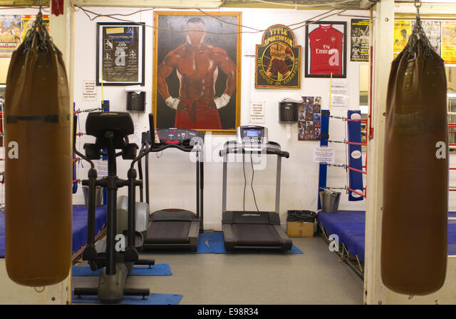 Training area at a local boxing club, Islington, London, UK - Stock Image