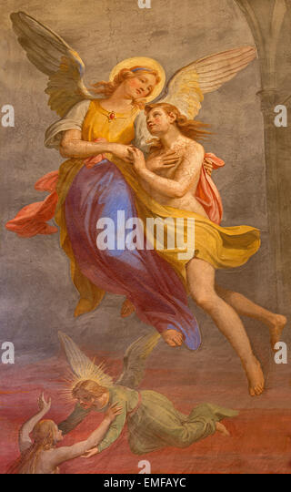 ROME, ITALY - MARCH 27, 2015: The fresco of angel and the soul fresco in Basilica di Sant Agostino (Augustine) - Stock Image