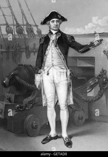 John Paul Jones (born John Paul; 1747-1792) was a Scottish-born American sailor and a renowned naval fighter in - Stock Image
