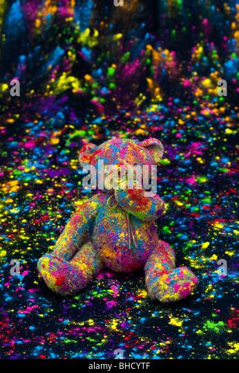 Multi coloured teddy bear - Stock Image