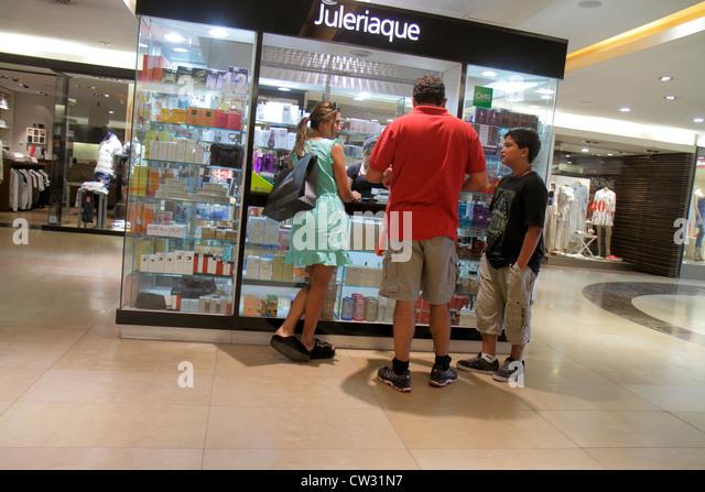 Mendoza Argentina Villa Nueva Mendoza Plaza Shopping mall shopping center centre business kiosk perfumes store Hispanic - Stock Image