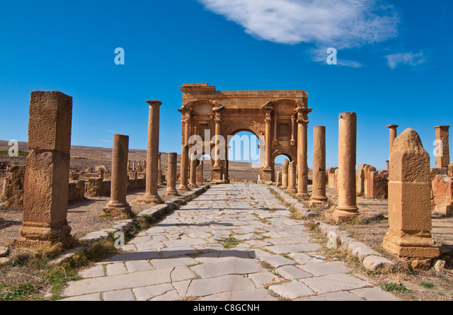 The Roman ruins, Timgad, UNESCO World Heritage Site, Algeria, North Africa - Stock Image