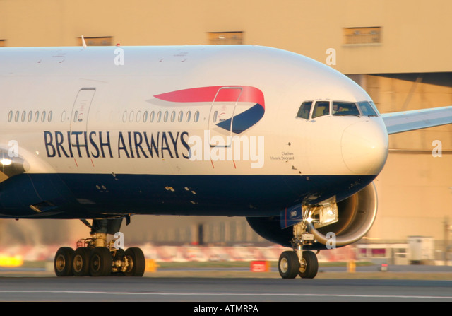 British Airways Boeing 777 at London Heathrow Airport - Stock Image