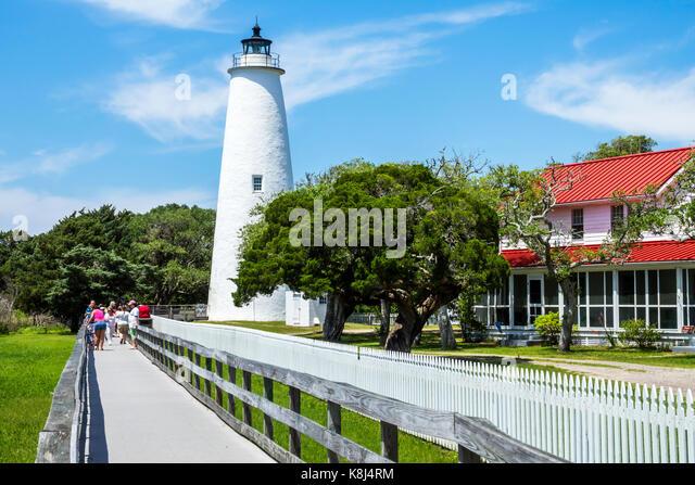 North Carolina NC Outer Banks Ocracoke Island Ocracoke Light lighthouse station boardwalk - Stock Image