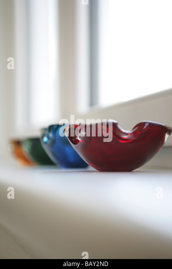 Colourful glass ashtrays, Decoration, Home, Lifestyle - Stock Image