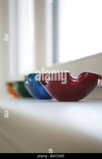 Colourful glass ashtrays, Decoration, Home, Lifestyle - Stock Image