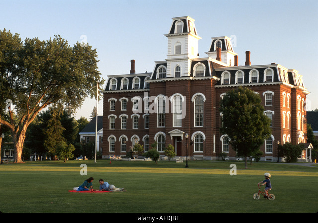 Vermont Montpelier Vermont College Victorian style College Hall built 1868 four story brick twin watchtowers - Stock Image