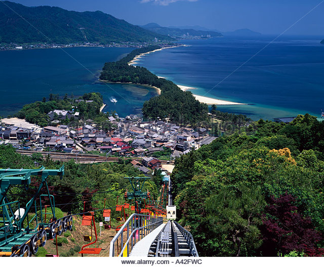 Miyazu Japan  City new picture : Amanohashidate Miyazu Kyoto Japan Sky Mountain Sea Row of houses House ...
