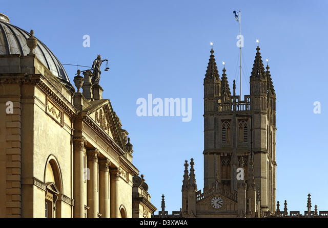 Detail of the 18th century Guildhall and the Abbey tower, Bath, England - Stock Image