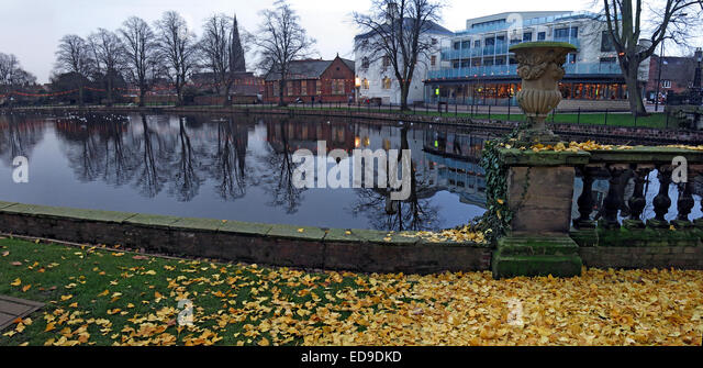 Lichfield River Panorama in autumn, Staffordshire, England, UK - Stock Image
